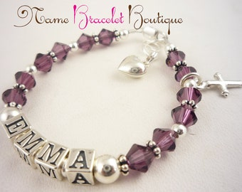 Cross First Communion Bracelet, Baptism - Birthstone Girl silver charm with amethyst swarovski crystals color/ christening bracelet gift/