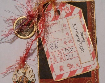 Original ACEO Oriental Prosperity Red Black Chinese Coin