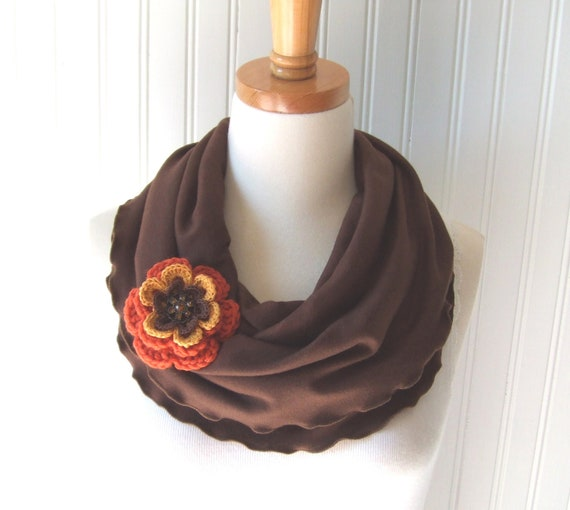 French Roast Brown Infinity Scarf - Ruffled Cotton Jersey Circle Loop with Autumn Flower Pin Brooch - Fall and Winter Fashion