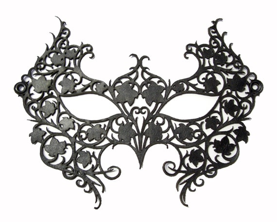 Black Laser Cut Leather Lace Masquerade Mask Costume - POISON IVY