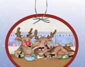 Santas Reindeer Behaving Badly Paper Ornament