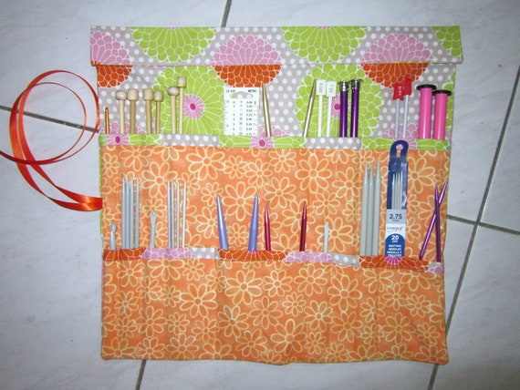 Crochet Knitting Needle Case Pattern : Knitting Needle Case Organizer Knitting Supplies Crochet Case