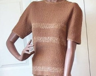 50s Pinup Sweater Set Vintage 1950s Knit Skirt Top Dress Gold Trim Small to Medium