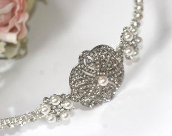 Bridal Side tiara,  Vintage style diamante and pearl side tiara, Rhinestone and pearl side tiara, wedding headpiece - VENICE