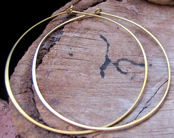 Golden Hoop Earrings 3 inch - Brass Hammered Hoops Extra Large - Thin Rounded Earrings - Gold Hoop earrings - Large Hoops for Her