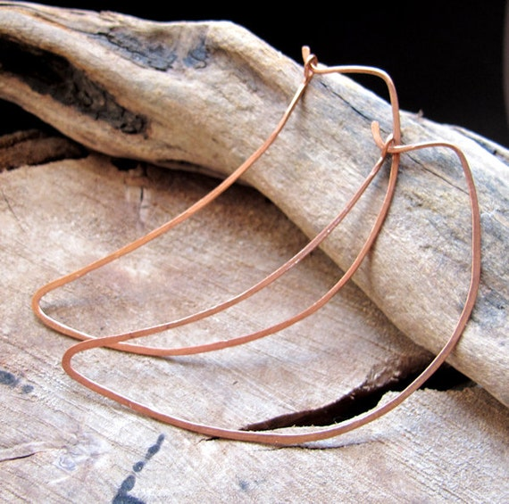 Fancy Copper Earrings - Half Moon shaped Hoop Earrings - Elegant Crescent Hoops
