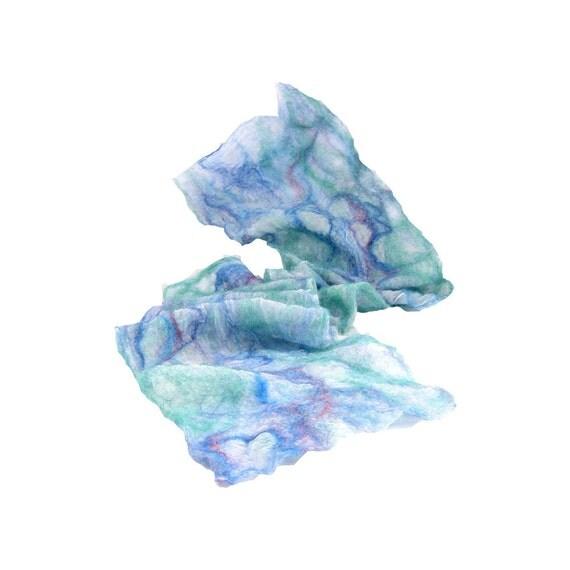 Nuno Felt Scarf Pastel Scarf Spring Scarf Summer Scarf Lightweight Scarf Spring Fashion Womens Scarf Aqua Blue Peach White Under 75 OOAK