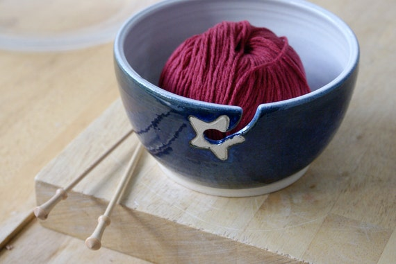 RESERVED FOR girldistracted - Stoneware pottery yarn bowl with little star hook