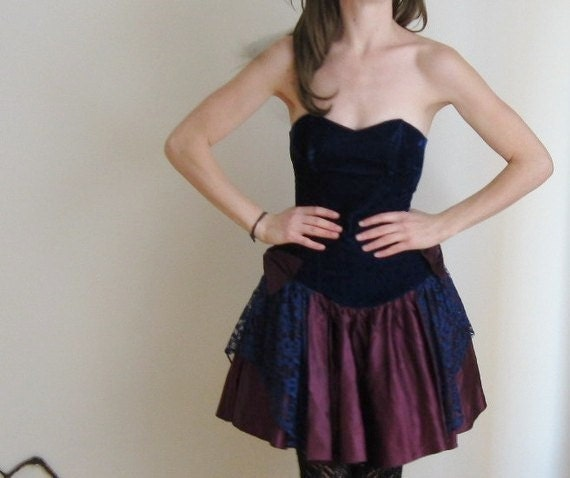 plum navy velvet party dress . lace bowtie holiday wear .extra small .sale