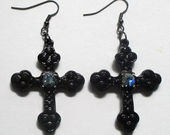 Gothic cross earrings with Swarovski crystals