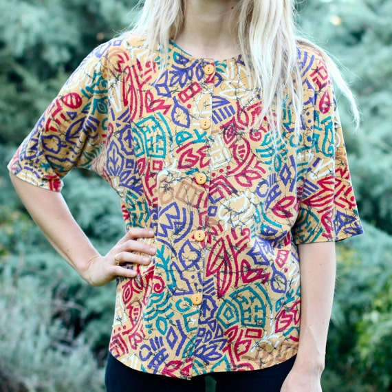 Colorful Abstract Scribble Top - M
