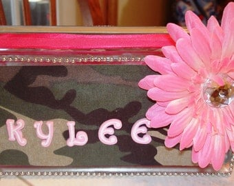 Pink Personalized Camo Glass Block night light
