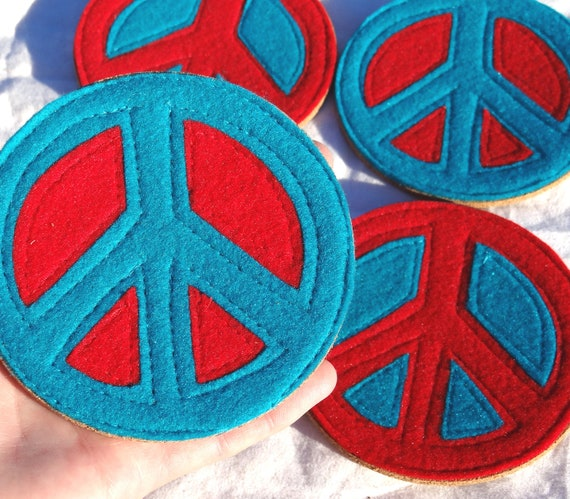 Red and Turquoise Peace Sign Coaster Set