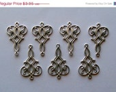 SUMMER Set of 4 Oxidized Silver Plated Brass Connector Earring Finding 25x17mm