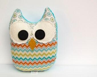 Chevron Owl Plush Toy Mini Pillow Softie Minky Green Teal Turquoise Orange