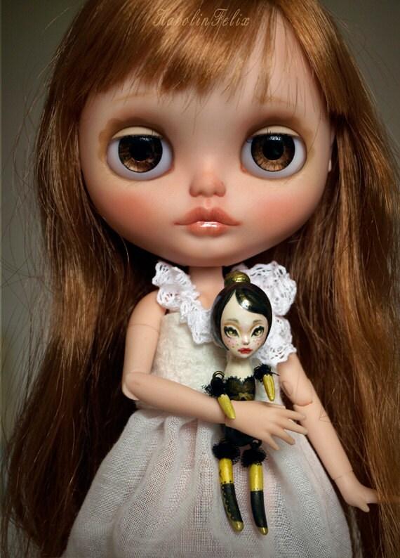 Cleo the Poppet - secret keeper - miniature doll friend for Blythe or Monster High - ooak art doll by KarolinFelix