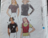 Kwik Sew 2384 Misses Tops in Sizes XS-S-M-L (uncut)