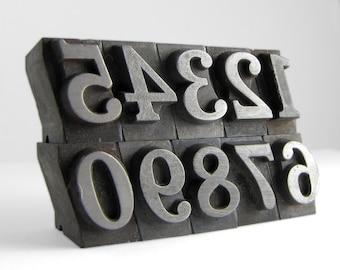 NUMBERS - 48pt Vintage Metal Letterpress (Cheltenham Bold Italic)