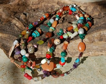 Multitude of stone necklace