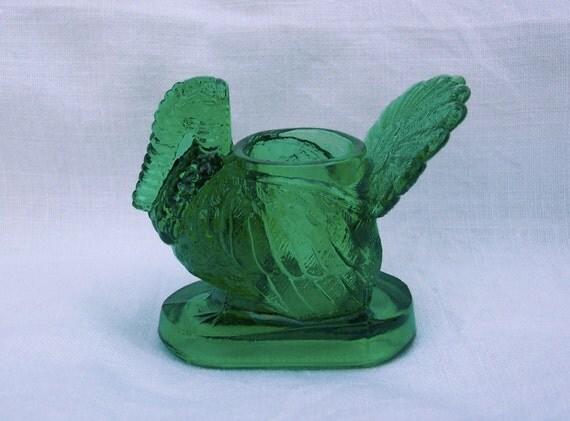 Vintage Mosser Glass Green Turkey Toothpick Holder