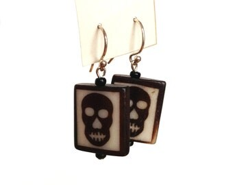 Dia de los Muertos Day of the Dead skull beaded wood earrings