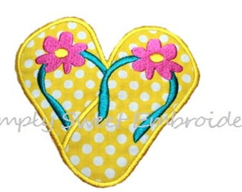 Flip Flop Heart Machine Embroidery Applique Design