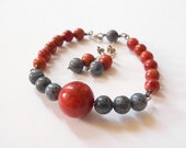 Red blue coral bracelet, earrings, Sterling silver set, handmade natural jewelry