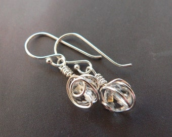 Rock crystal silver earrings, wire wrapped dangle earrings, everyday wear, affordable gift, gift for her, gift for girl, Christmas present