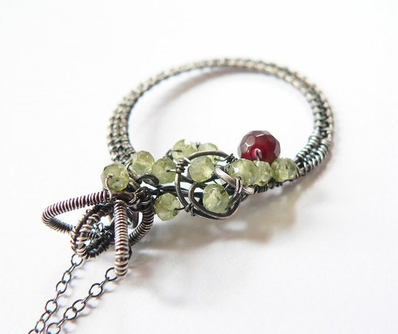 Green peridot, garnet, Sterling silver pendant, wrapped necklace