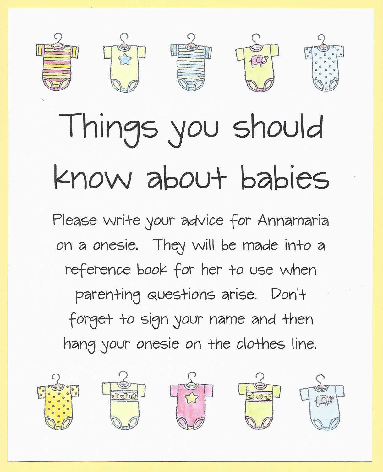 Easy Baby Shower Advice Games, Easy Baby Shower Games  PRIMARY STRIPES BOOK    Baby Boy Onesie Book, Custom Baby Shower Gifts, Baby Boy Gifts