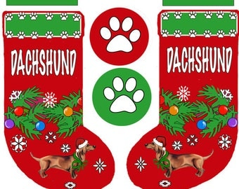 Cut and Sew Dachshund Christmas stocking