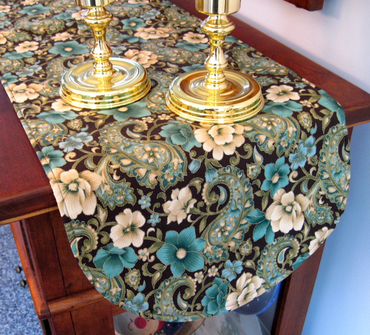 teal and brown table runner 36 inch paisley floral brown and. Black Bedroom Furniture Sets. Home Design Ideas