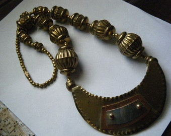 Chunky Necklace Tribal Brass Copper Silver