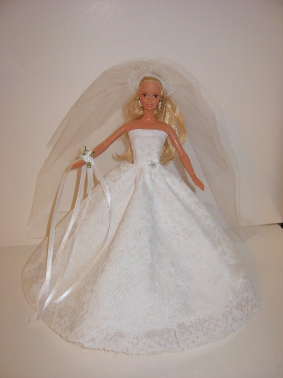 Adorable wedding gown, corsage,  veil for barbie doll