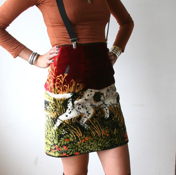 Velvet Dog Tapestry Pencil Skirt With Exposed Zipper Sz XS / S Rusty Cuts