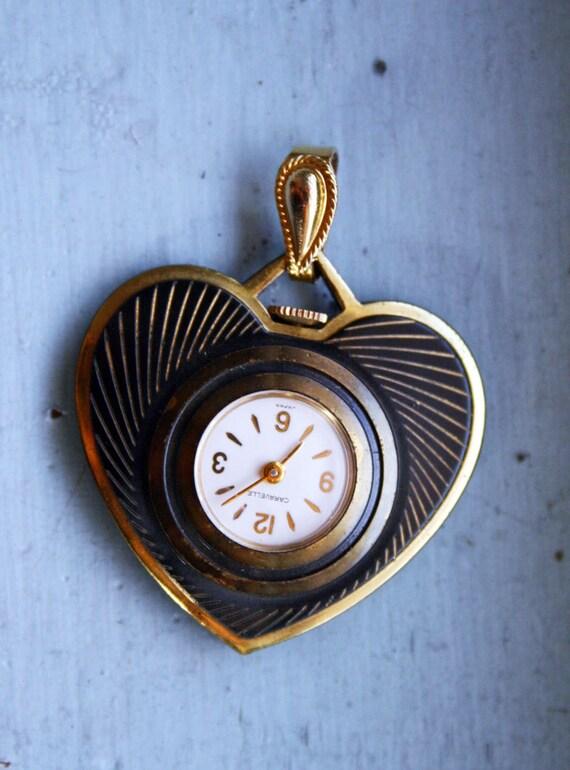 Vintage 1960s-70s Caravelle Heart Shaped Watch Pendant Charm