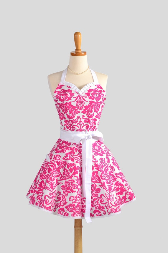 Sweetheart Retro Apron , Sexy Cute Handmade Apron in Fuchsia and White Damask Fabric Collection by Jennifer Paganelli for Free Spirit