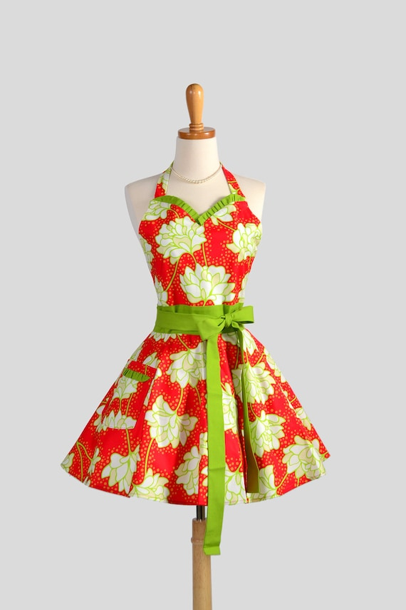 Sweetheart Retro Apron . Sexy Kitchen Apron Cute and Flirty Retro in Heather Baileys Pop Garden Peonies Red