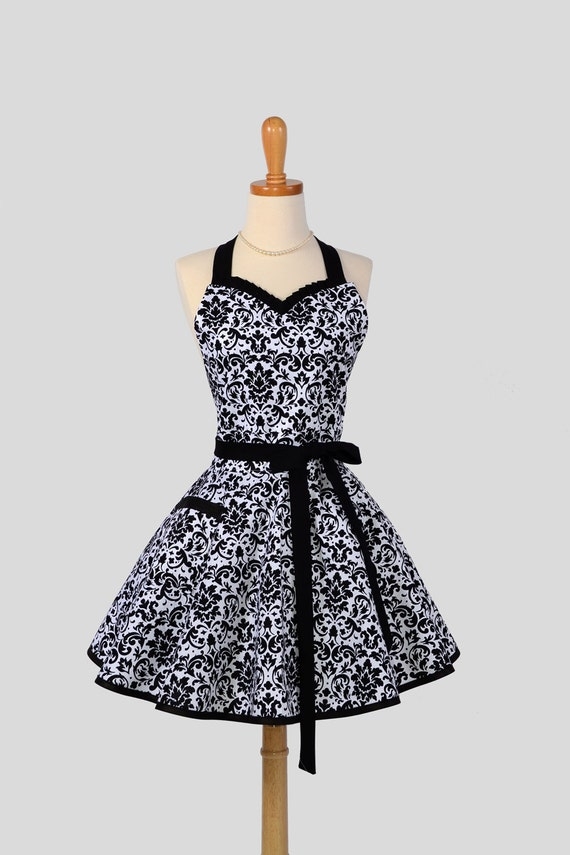 Sweetheart Retro Apron - Sexy Cute Womens Apron Black and White Damask Flirty Full Kitchen Apron