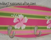 18 inch SURFBOARD wood HOoK RACK towels clothes keys Pink Green. Beach Hawaiian Surf Wall Hanging Decor.150 Designs 3 sizes. SALE