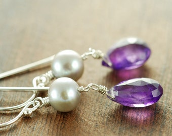 Amethyst Pearl Drop Earrings Sterling Silver, February Birthstone Jewelry, Bridesmaid Earrings, Purple Gray Earrings