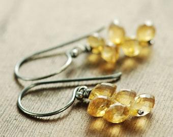 November Birthstone Citrine Jewelry, Citrine Flame Earrings, Sterling Silver Cluster Earrings, Dangle Earrings
