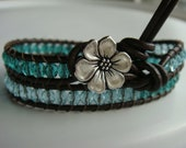 Teal and Aquamarine Beaded Leather Wrap Bracelet with Flower Button