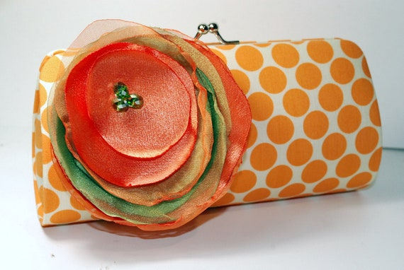 Orange Polka Dot Clutch -  Bridesmaid Clutch - Bridal Accessories - Custom Maid of Honor Gifts - This clutch is READY to ship
