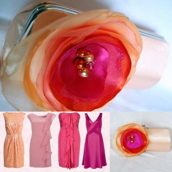 Bridesmaid Clutch - Prom Purse - Ombre Color in Peach, Tangerine and Fuchsia
