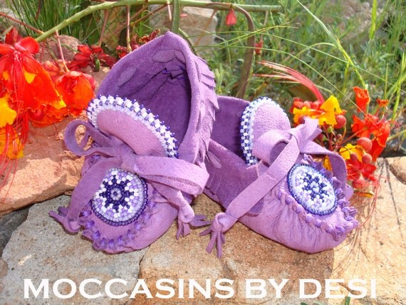 Baby Moccasins by Desi, Beaded, purple leather, lots of beadwork