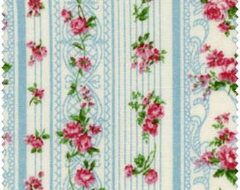 Romantic Memories Cotton Fabric Quilt Gate 8787-3C Blue stripes and pretty pink roses