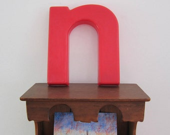Vintage Salvaged Sign Red Plastic Letter Lower Case n or u