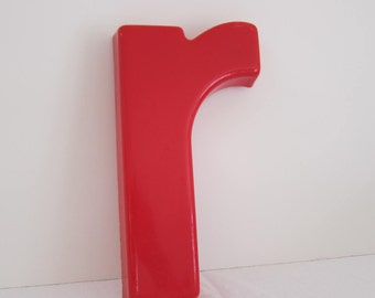 Vintage Salvaged Sign Red Plastic Letter Lower Case r