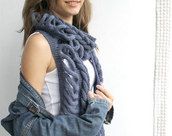Indigo Wool  Scarf with Dark Gray Button Mothers Day Gift gift  under75 For Her